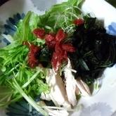 水菜とスプラウトの梅ポンサラダ