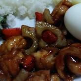 鶏とレンコンの甘辛炒め
