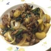 牛肉とジャガイモの甘辛ニンニク炒め