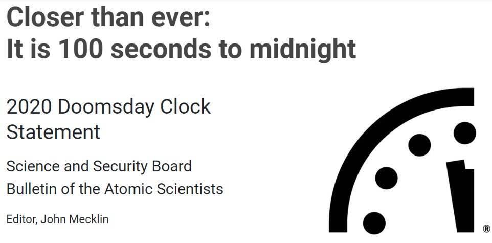 世界終末時計(Doomsday Clock)」は残り100秒 世紀末はもうすぐそこ ...
