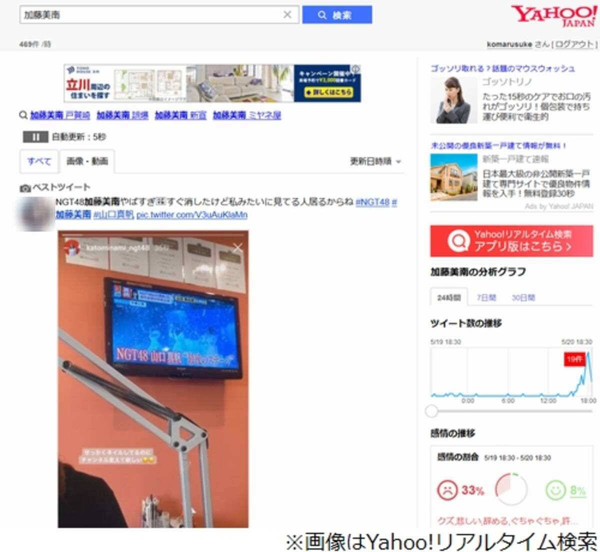 NGT48加藤美南が大炎上、山口真帆が映るテレビに… (2019年5月20日 ...