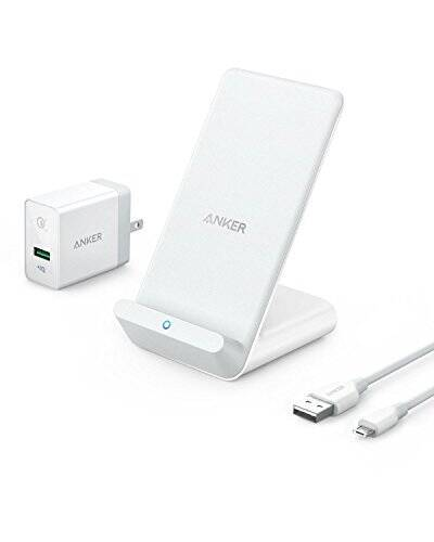【USB充電器セット】Anker PowerWave 7.5 Stand(7.5W ワイヤレス充電器 )【Quick Charge 3.0対応急速充電器付属】iPhone XS/XS Max/XR / X / 8 / 8 Plus、Galaxy S9 / S9+ / S8 / S8+、その他Qi対応機種 各種対応