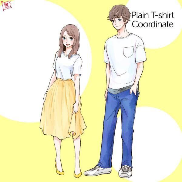 ミモレ丈カラースカートと白Tシャツ