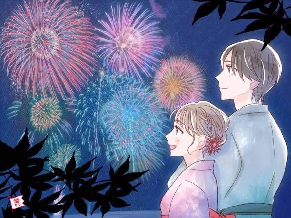 花火をみるカップル