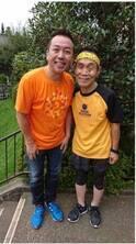 林家たい平、24時間マラソン坂本トレーナーとブルゾンを応援