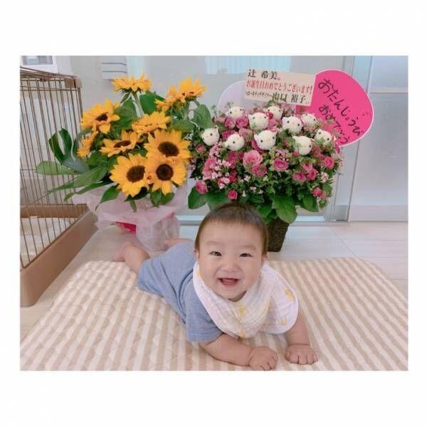 """辻希美、ハローキティデザイナーから届いた""""お花""""を公開「幸空しゃんも喜んでおります」"""