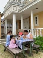 花田虎上、自宅の庭で家族ランチ「いつもと違う気分で」
