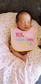小原正子、よだれかけにおさまる娘を公開「こんなサイズにすっぽり」