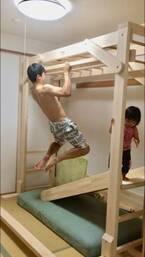 金田朋子『室内用木製うんてい』に夫・森渉と娘が大喜び「SASUKEのトレーニングやってます(笑)」