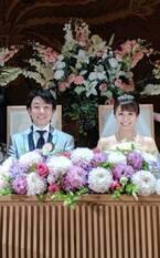 小林麻耶・國光吟さん夫妻の高砂2ショットに「お似合いのカップル」「可愛らしいお二人」の声