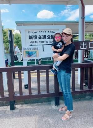 保田圭、車が大好きな息子と行った公園「すごく楽しそうにしてた」
