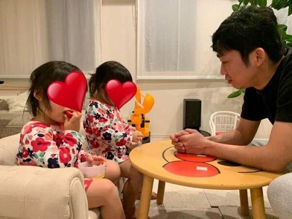 ノンスタ石田、前髪カットで可愛さが増した双子「父ちゃんを無視して食べ続ける娘たち」