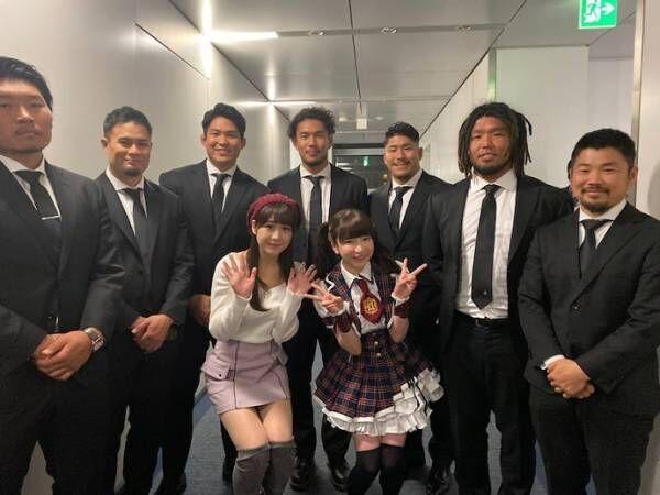 もえあず、ラグビー日本代表との集合ショットを公開「みなさまめちゃくちゃ 大きくて」
