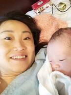 キンタロー。第1子女児を出産し2ショットを公開「めちゃめちゃ小顔~」