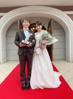 南明奈、ウェディングドレス姿で夫・濱口優との2ショットを公開「結婚式は準備大変だけど」