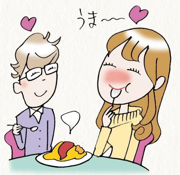 おいしいものを食べて、ただ笑うだけ。それでモテるなんて、なんだかお得♪