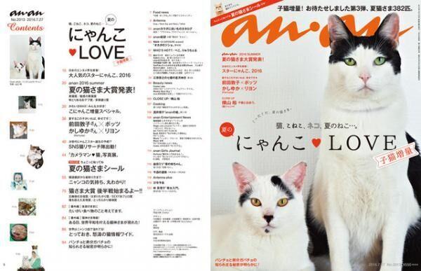 anan「夏のにゃんこLOVE」特集。表紙のパンチョとガバチョはどんな猫?!