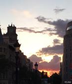 バルセロナの夏の朝焼け