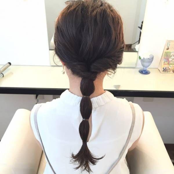 毛束を3ヶ所くらいゴムで結ぶ。