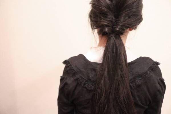 残りの髪を結び、くるりんぱします。