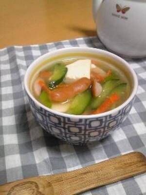 むくみ解消☆豆腐とキュウリの中華スープby:hiromigoroさん