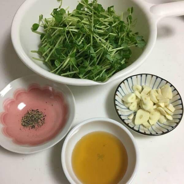 豆苗のガーリックソテーのレシピ