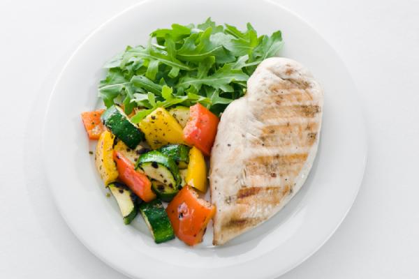 鳥の胸肉と野菜のプレート