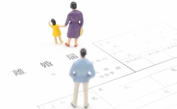 離婚届と離婚する夫婦のイメージ