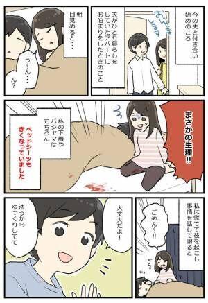衝撃!彼の家のベッドに経血漏れ…。