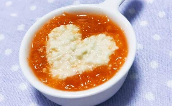【離乳食初期】レンジで作るすりおろし人参と豆腐のスープ