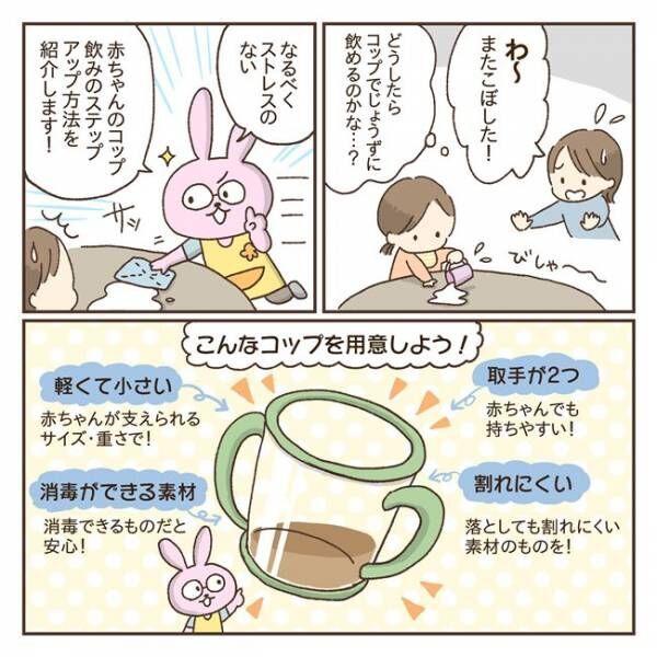 赤ちゃんのコップ飲み