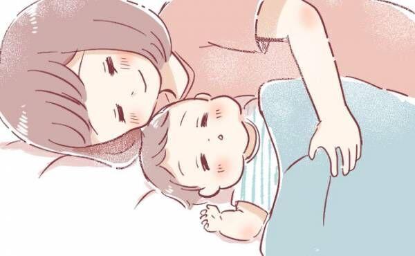 添い寝するママ
