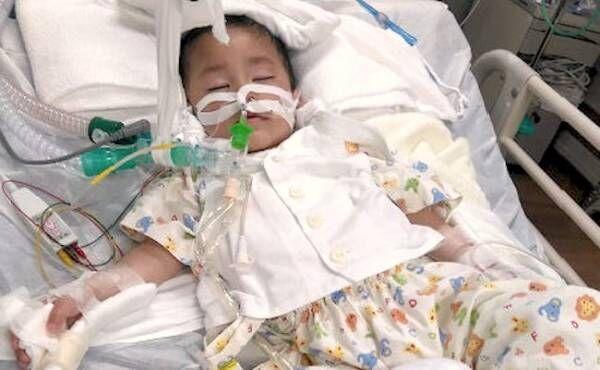入院処置中の赤ちゃん