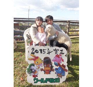 大阪府・ワールド牧場で、干支のヒツジを抱っこして年賀状撮影!!