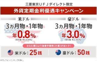 三菱東京UFJダイレクト限定、「外貨定期金利優遇キャンペーン」開始