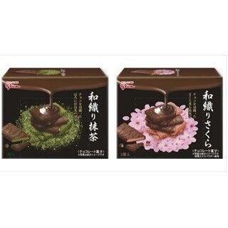 江崎グリコ、大人のチョコスナック「和織り抹茶」「和織りさくら」を発売