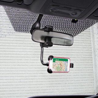 車のルームミラーにスマホをガッチリ取り付けるホルダー