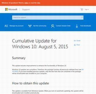 米マイクロソフト、Windows 10の更新プログラムをリリース