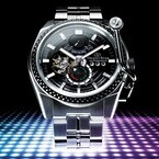 オリエント、1970年代のターンテーブルを大胆にデザインした機械式時計
