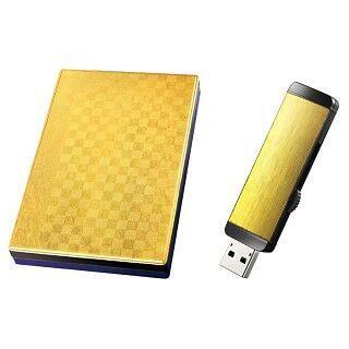 創業40周年のアイ・オー・データ、「金沢箔」で金ピカのHDDとUSBメモリ