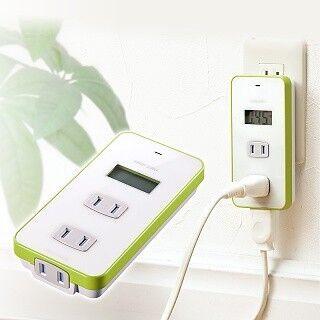 サンワダイレクト、消費電力や電気料金が見えるワットモニター電源タップ