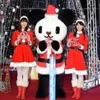 テレ朝・紀真耶&桝田沙也香アナ、巨大ツリー点灯式にサンタ衣装で登場