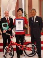 BMXライダー池田貴広が、1分間に78回のスピンでギネス世界記録を達成