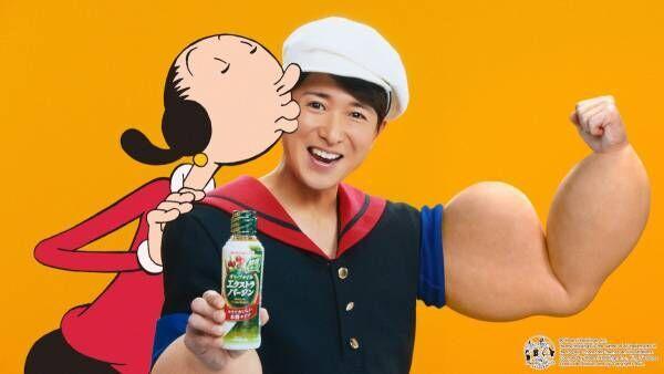大野智、極太二の腕の「さとしポパイ」に! アニメのオリーブと共演
