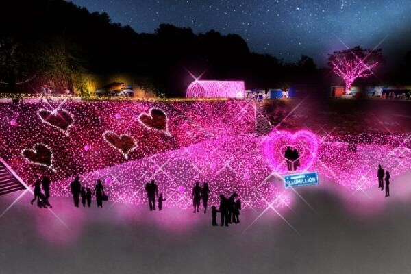一面ピンクの新エリア! 「さがみ湖イルミリオン」スイートイルミネーション開催
