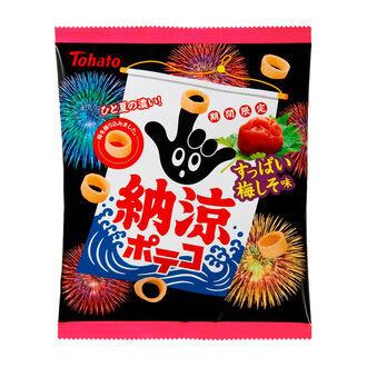 東ハトが夏季限定「納涼シリーズ」3種ポテコ・ビーノ発売―梅・ガーリック・七味マヨ味