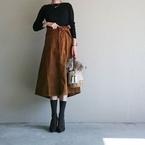 レトロなコーデュロイスカートで、「うしごろ」系列の中華料理店へ #東京365日コーデ