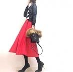 モノトーンの中に、真っ赤なスカートを投入して。愛宕神社で御朱印ゲット #東京365日コーデ