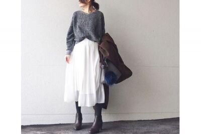 ざっくりニットは前裾をイン! ずん胴を回避して、全身好バランス #東京365日コーデ