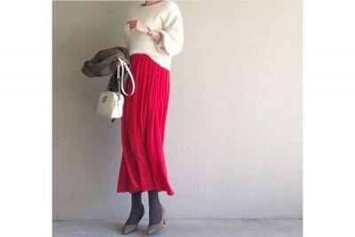 赤の華やぎスカートで、大人レディなスタイルに #東京365日コーデ